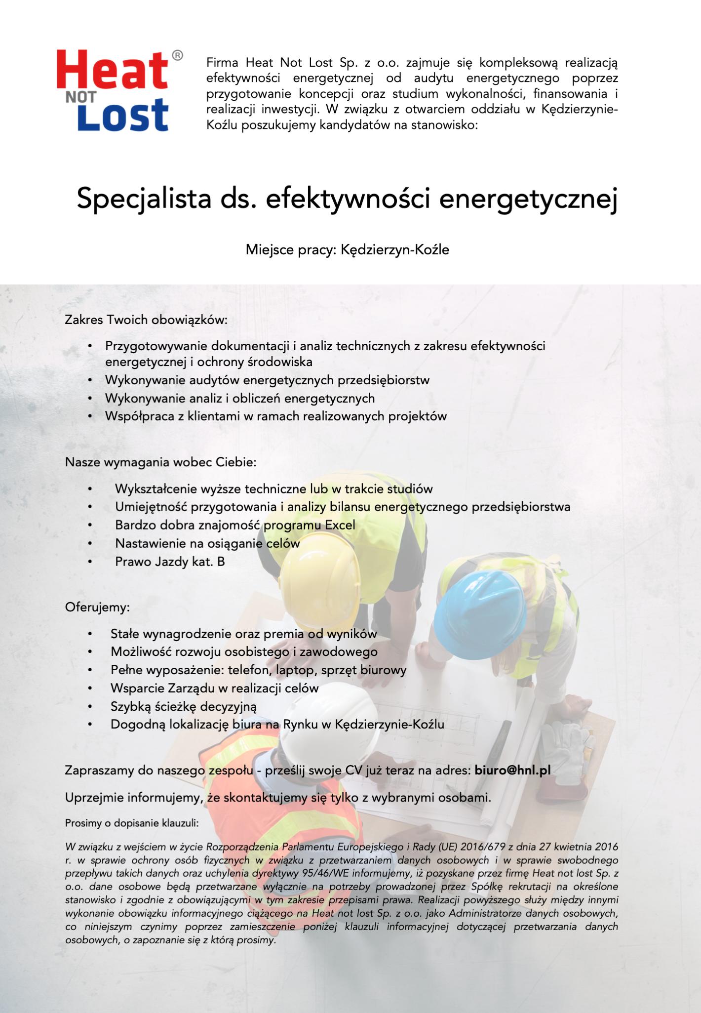 Praca - specjalista ds. efektywności energetycznej